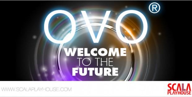 Scala Playhouse logo and ovo logo on black background