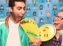 Jamie and Kristein with Taco and Emojibator
