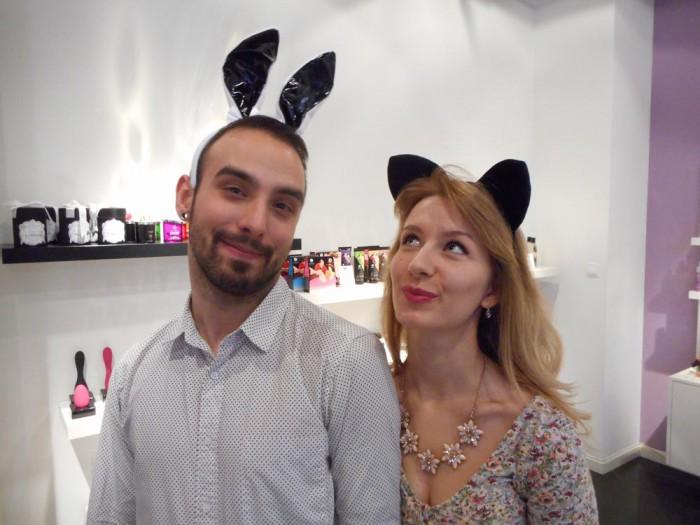 Łukasz Ociepa and Magda Kamińska with bunny ears