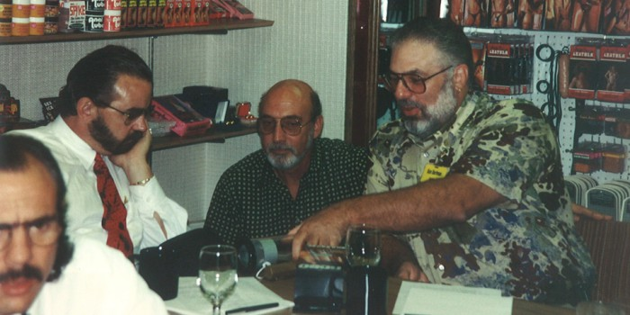 Ken Dorfman (Sales Manager), Jerry Cohn (Production Manager), and Harry Krigsman (Packaging Supplier) in the early 80s