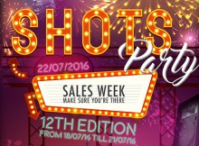 Flyer for Shots Party Summer 2016