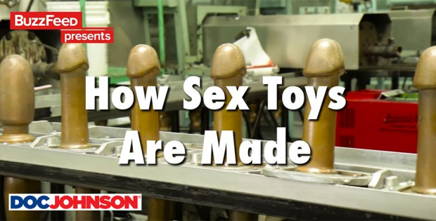 "Screenshot of Buzzfeed's ""How Sextoys are Made"" film with Doc Johnson"