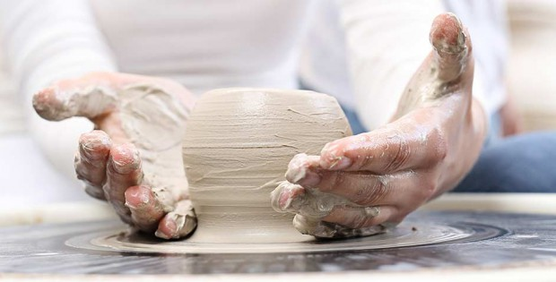 Hands with clay